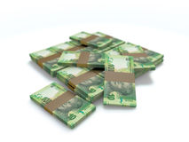 A pile of south african money 10 rand. A pile of south african 10 rand cash money on white Royalty Free Stock Images