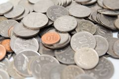Pile of South Korea coins royalty free stock image