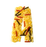 Pile of spaghetti forming a letter A Stock Image