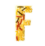 Pile of spaghetti forming a letter F Royalty Free Stock Photography