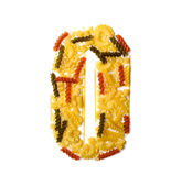 Pile of spaghetti forming a letter O Stock Image