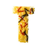 Pile of spaghetti forming a letter T Royalty Free Stock Images