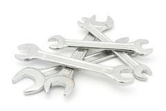 Pile of spanners over white Royalty Free Stock Photos