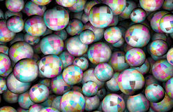 Pile of Spheres, Colored Texture Used. Rendered 3D Graphic, Many Randomly Distributed Spheres in Space Stock Images
