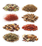 Pile of spices on white background. Royalty Free Stock Images