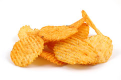 Pile of spicy potato chips Stock Images