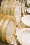 pile stack of clean washed plates Royalty Free Stock Photography