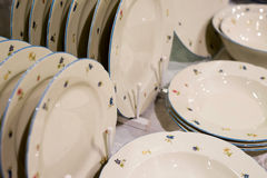 pile stack of clean washed plates Royalty Free Stock Photos