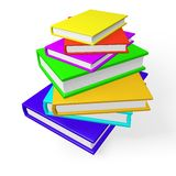 Pile or Stack of Colorful Books. A tall stack of 3d books, hard bound in attractive vibrant colors. Can be used for learning and education concepts Royalty Free Stock Photography