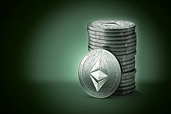 Pile or stack of silver Ethereum classic ETC coins on gently lit green blue background. One coin is turned towards the camera. 3D rendering new virtual money royalty free illustration