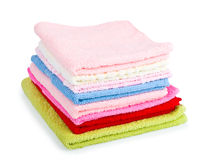 Pile stacked colorful towels Stock Images