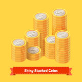 Pile of stacked gold coins. Royalty Free Stock Images
