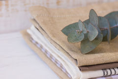 Pile of stacked linen and cotton kitchen towels with branch of silver dollar eucalyptus on white wood table, interior design Stock Images