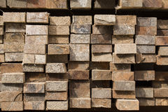 Pile of stacked rough cut lumber Stock Image