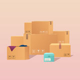 Pile of stacked sealed goods cardboard boxes. Flat design modern Stock Photography