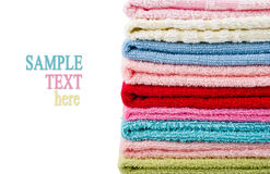 Pile stacked towels with sample text Royalty Free Stock Photos