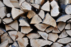 Pile of stacked triangle firewood prepared for fireplace and boi Royalty Free Stock Photos