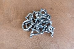 Pile of stainless steel shackles, Royalty Free Stock Photography