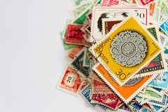 Pile of stamps stock photos
