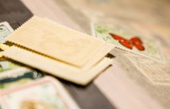 Pile of stamps in the stamp album royalty free stock image