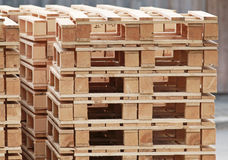 Pile of standard wooden pallets Stock Photos