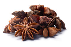 Pile of Star anise dried Ilicium fruits, paths Royalty Free Stock Images