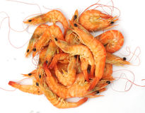A pile of steamed shrimps Royalty Free Stock Photos