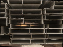 Pile steel channel for construction of a house to an outdoor site. Steel beams for the roof. Profile pipes Royalty Free Stock Image