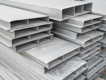 Pile steel channel for construction of a house to an outdoor site. Steel beams for the roof. Profile pipes. Pile steel channel for construction of a house to an royalty free stock photo