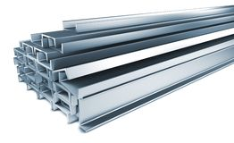 Pile of Steel Channels Isolated on White. Royalty Free Stock Photos