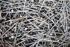 Pile of steel nails Royalty Free Stock Photography