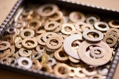 Pile of a steel washers. Steel washers close-up Royalty Free Stock Photography