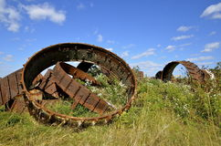 Pile of steel wheels of heavy machinery Royalty Free Stock Photos