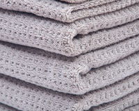 Pile, stock of thick organic cotton bath towels Royalty Free Stock Images