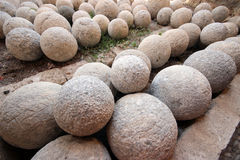 Pile of stone cannon balls Royalty Free Stock Photos