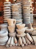 Pile of stone ware for sale. Open Market in Myanmar Royalty Free Stock Images