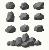 Pile of  stones, graphite coal. Pile of  stones, graphite coal on white background Royalty Free Stock Photos