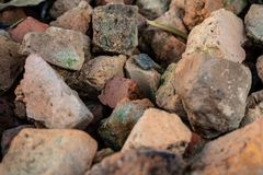 Pile of stones on ground for background, wallpaper stock photos