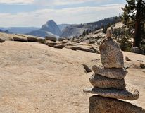 Pile of stones with Half-Dome in background. In Yosemite National Park, California, USA Stock Photography