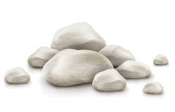 Pile of stones isolated on white background Stock Photos