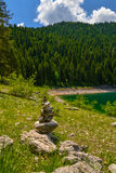 Pile of stones near Black Lake. Crno jezero in Durmitor National Park, Montenegro Stock Image