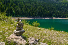 Pile of stones near Black Lake. Crno jezero in Durmitor National Park, Montenegro Stock Photo