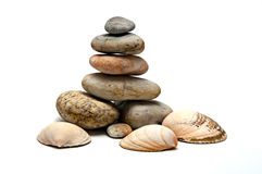 Pile of stones and shells Stock Photos