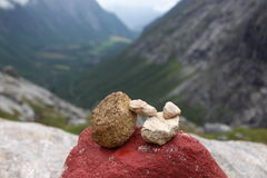 The pile of stones is a sign of conquest the mountain. Stock Images
