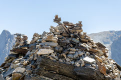 Pile of stones. Stack of stones in mountain Stock Photo