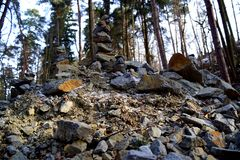 Pile of stones and stone tower. Tercino udoli, Nove Hrady, South Bohemia stock image