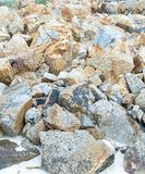 Pile of stones weathered beige part of the beach background natural background sea shore wildlife stock image