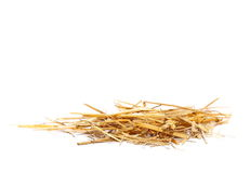 Pile straw isolated on white. Background Royalty Free Stock Photography