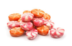 Pile of striped fruit candies Royalty Free Stock Images
