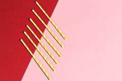 A pile of strired paper straws for cocktail stock photography